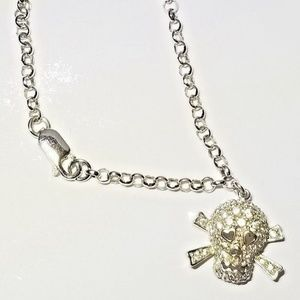 Sterling Silver 925 Diamante Skull Bracelet